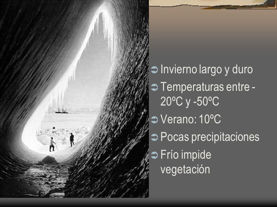 Invierno largo y duroTemperaturas entre -20ºC y -50ºC.