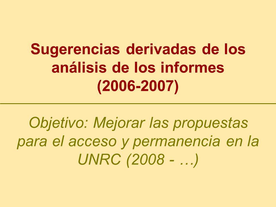 Sugerencias derivadas de los análisis de los informes (2006-2007) Objetivo: Mejorar las propuestas para el acceso y permanencia en la UNRC (2008 - …)