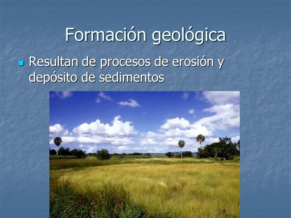 Formación geológica Resultan de procesos de erosión y depósito de sedimentos