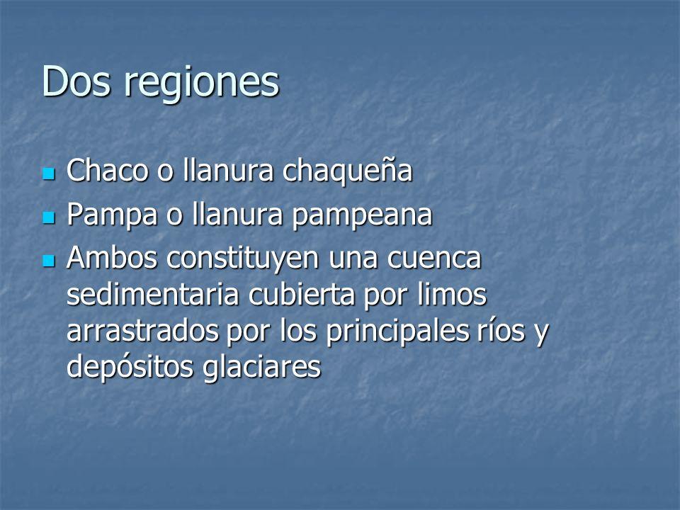 Dos regiones Chaco o llanura chaqueña Pampa o llanura pampeana