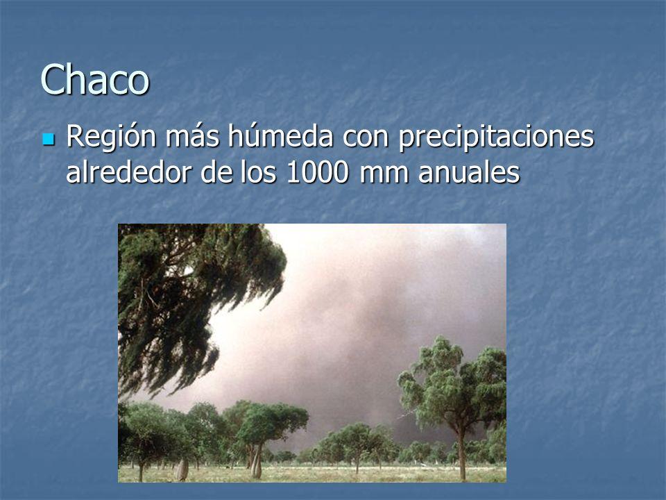 Chaco Región más húmeda con precipitaciones alrededor de los 1000 mm anuales