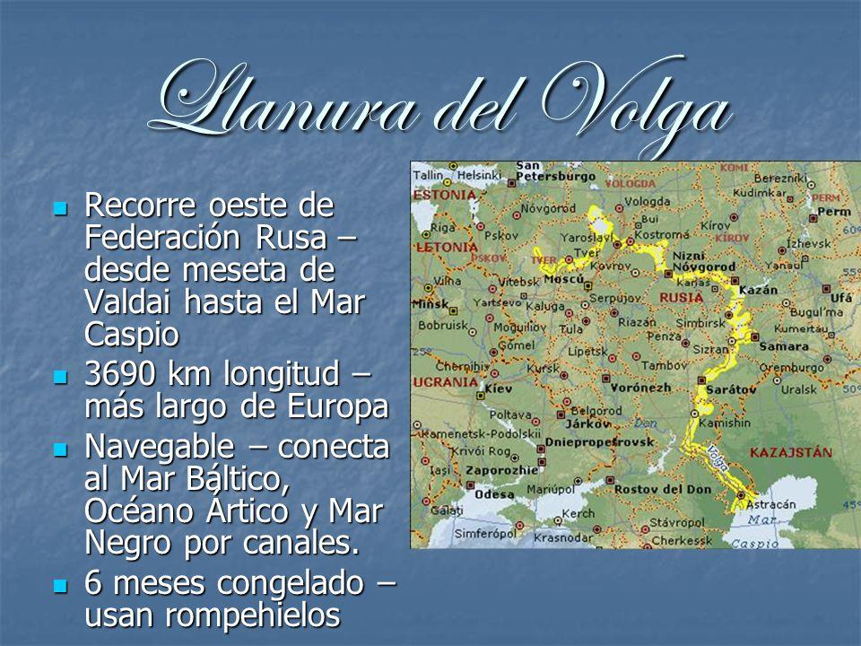 Llanura del VolgaRecorre oeste de Federación Rusa – desde meseta de Valdai hasta el Mar Caspio. 3690 km longitud – más largo de Europa.