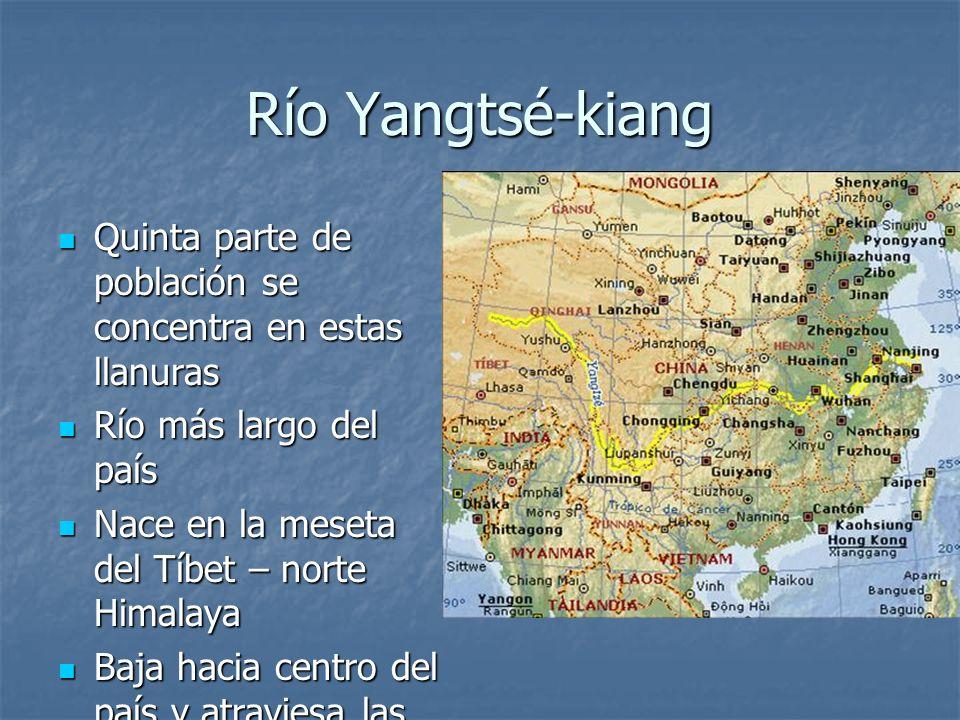 Río Yangtsé-kiangQuinta parte de población se concentra en estas llanuras. Río más largo del país. Nace en la meseta del Tíbet – norte Himalaya.