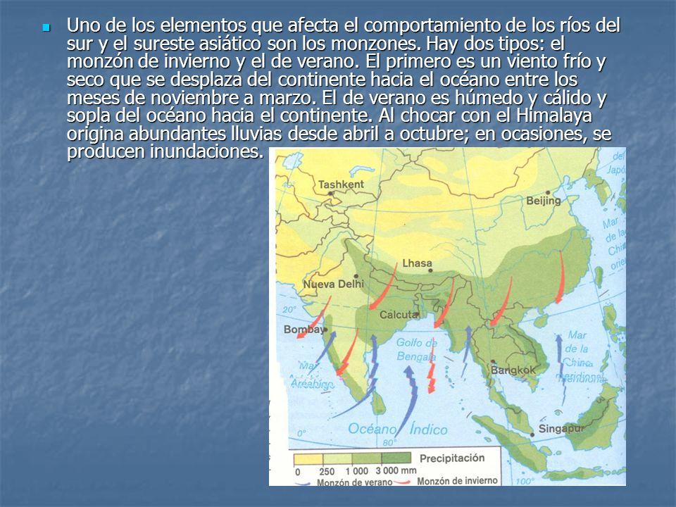 Uno de los elementos que afecta el comportamiento de los ríos del sur y el sureste asiático son los monzones.