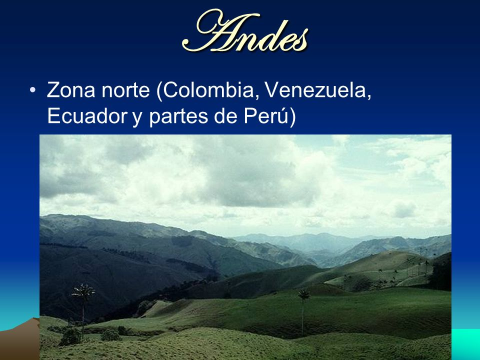 Andes Zona norte (Colombia, Venezuela, Ecuador y partes de Perú)