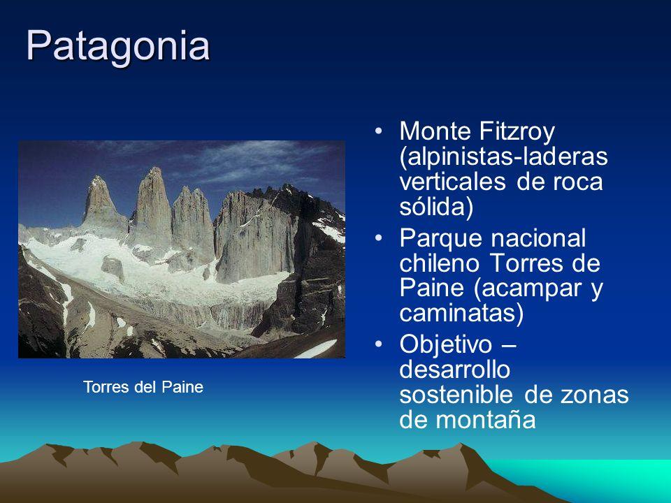 Patagonia Monte Fitzroy (alpinistas-laderas verticales de roca sólida)