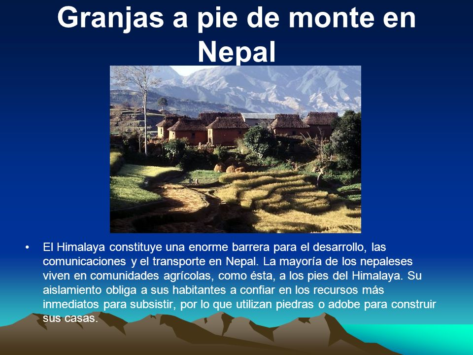 Granjas a pie de monte en Nepal