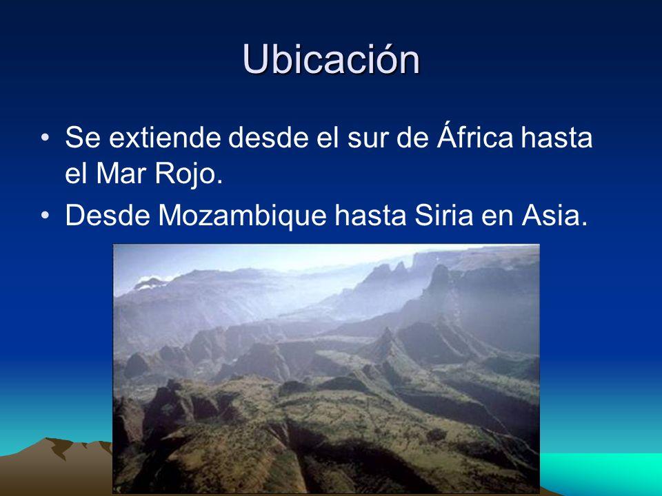Ubicación Se extiende desde el sur de África hasta el Mar Rojo.