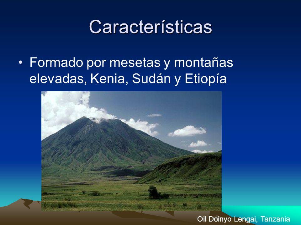 Características Formado por mesetas y montañas elevadas, Kenia, Sudán y Etiopía.