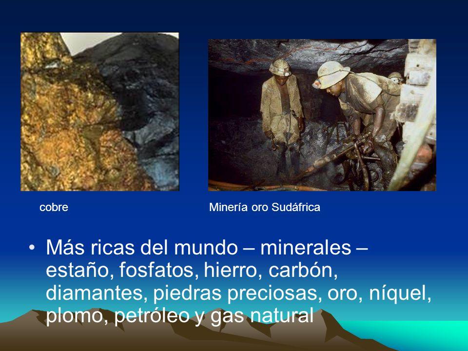 cobre Minería oro Sudáfrica.