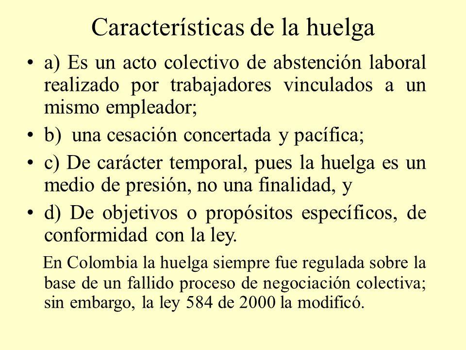 Características de la huelga