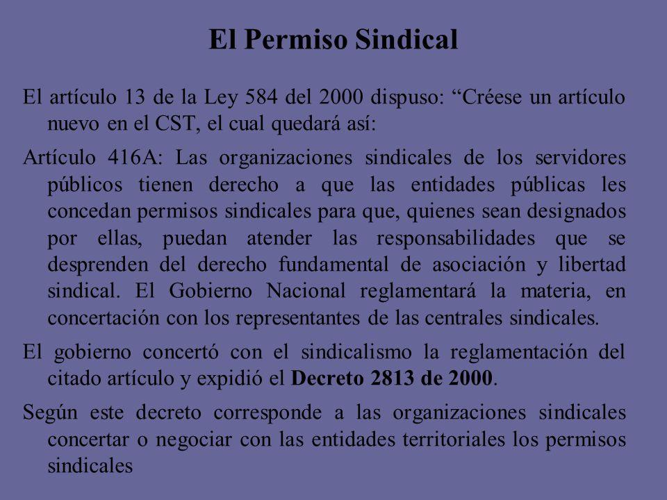 El Permiso Sindical El artículo 13 de la Ley 584 del 2000 dispuso: Créese un artículo nuevo en el CST, el cual quedará así: