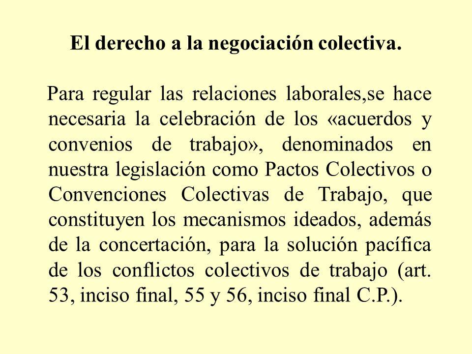 El derecho a la negociación colectiva.