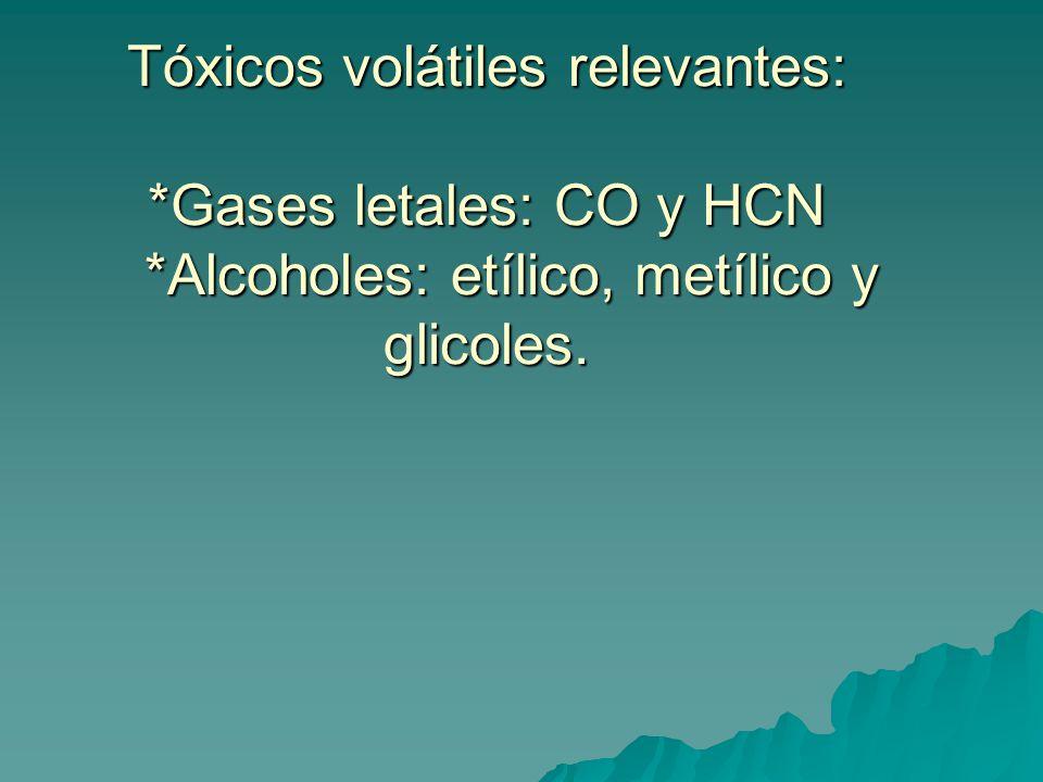 Tóxicos volátiles relevantes:. Gases letales: CO y HCN