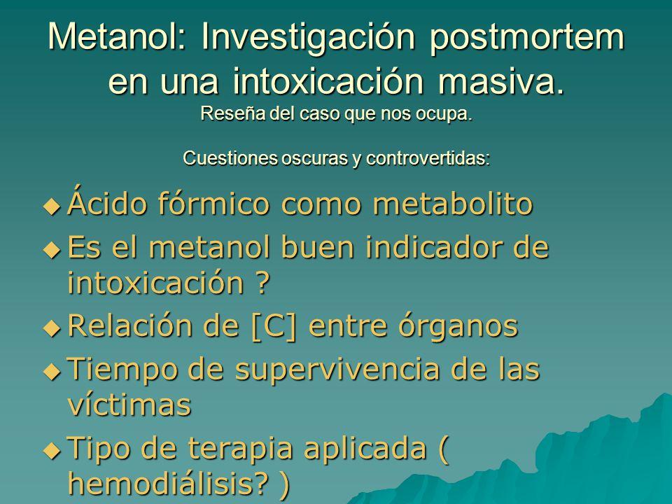 Metanol: Investigación postmortem en una intoxicación masiva