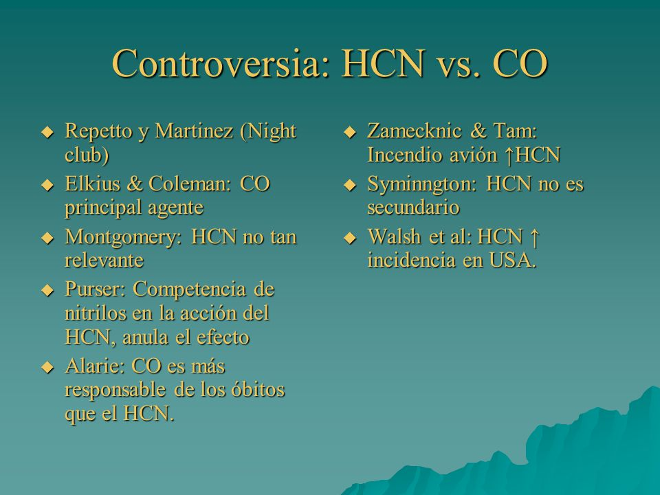 Controversia: HCN vs. CO