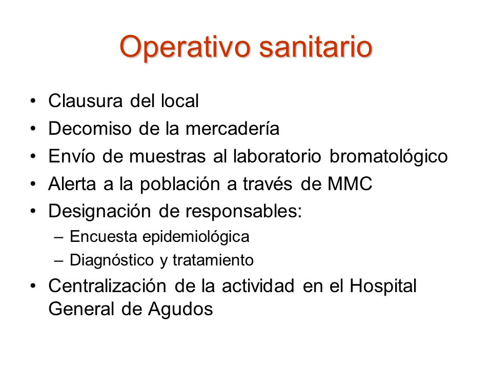 Operativo sanitario Clausura del local Decomiso de la mercadería