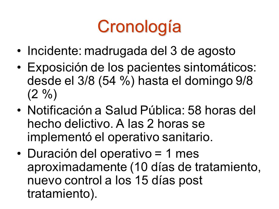 Cronología Incidente: madrugada del 3 de agosto