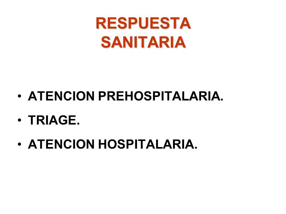 RESPUESTA SANITARIA ATENCION PREHOSPITALARIA. TRIAGE.