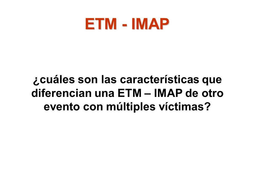 ETM - IMAP ¿cuáles son las características que diferencian una ETM – IMAP de otro evento con múltiples víctimas