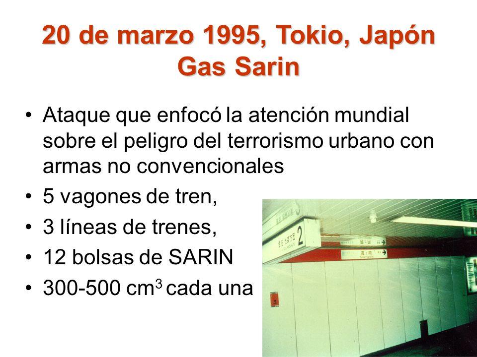 20 de marzo 1995, Tokio, Japón Gas Sarin
