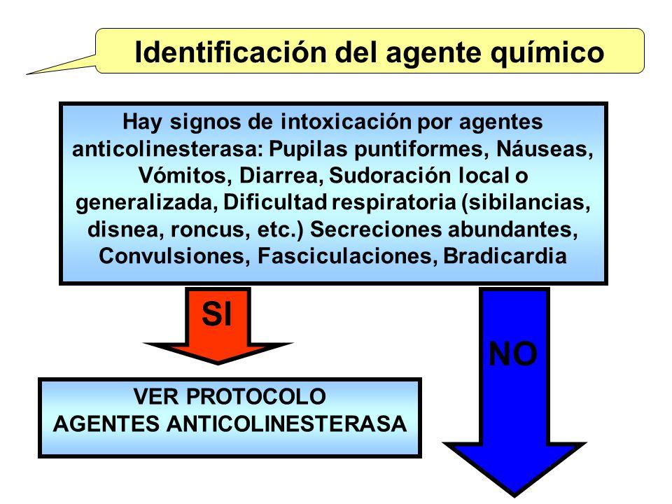Identificación del agente químico AGENTES ANTICOLINESTERASA