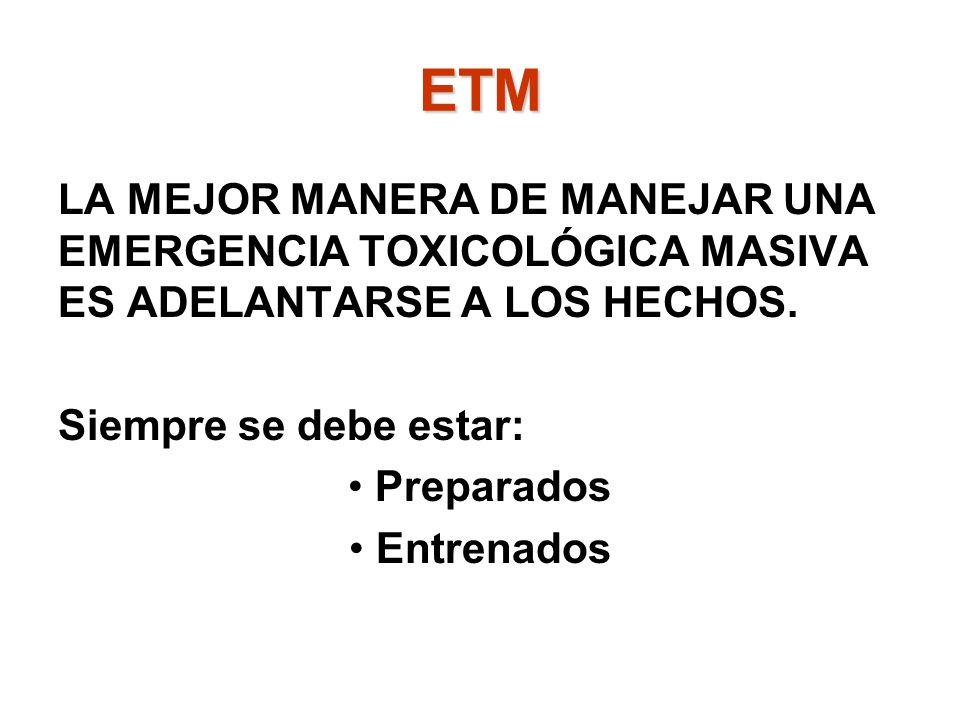 ETM LA MEJOR MANERA DE MANEJAR UNA EMERGENCIA TOXICOLÓGICA MASIVA ES ADELANTARSE A LOS HECHOS. Siempre se debe estar: