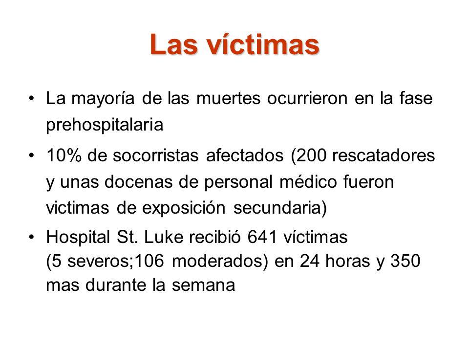 Las víctimas La mayoría de las muertes ocurrieron en la fase prehospitalaria.