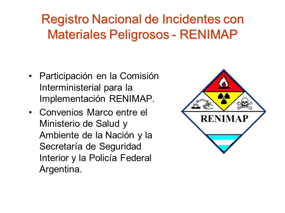Registro Nacional de Incidentes con Materiales Peligrosos - RENIMAP
