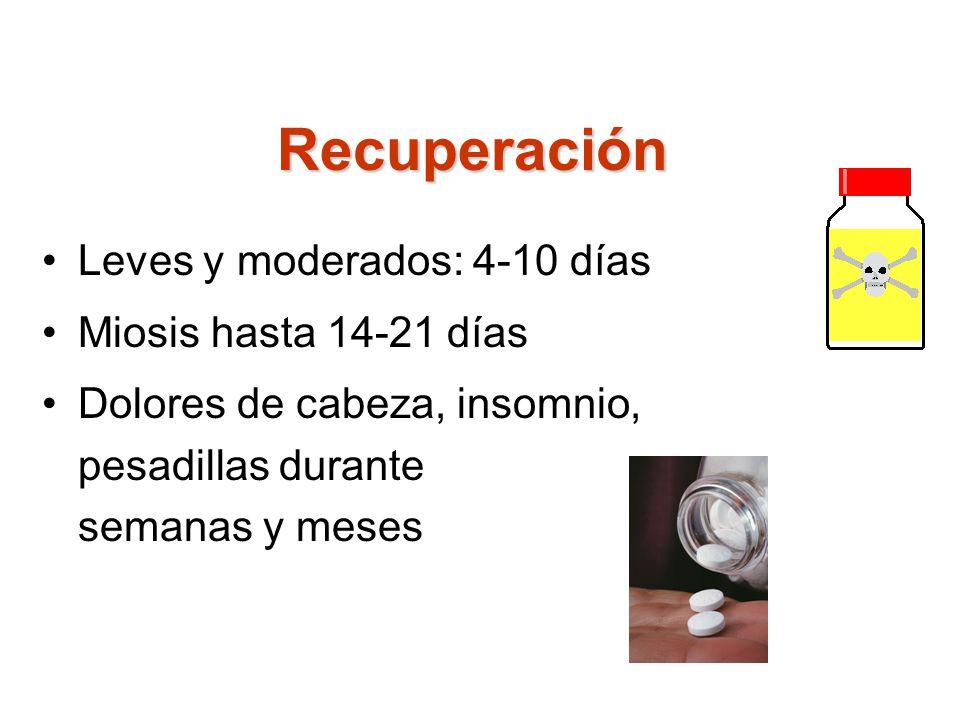 Recuperación Leves y moderados: 4-10 días Miosis hasta 14-21 días