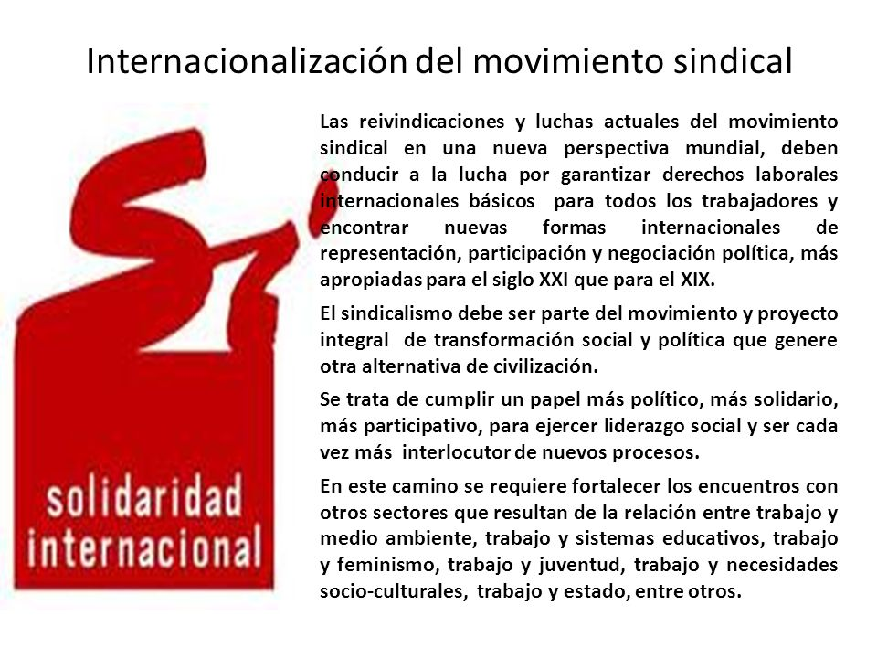 Internacionalización del movimiento sindical