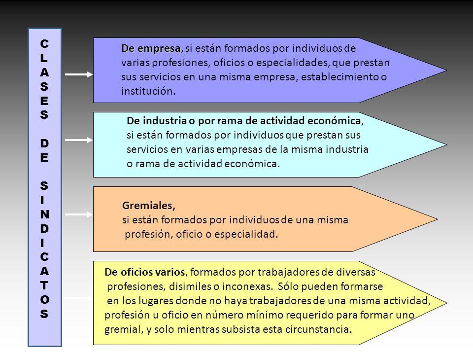 CLASES DE SINDICATOS De empresa, si están formados por individuos de varias profesiones, oficios o especialidades, que prestan.