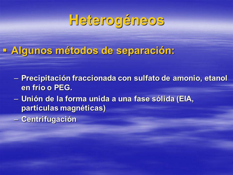 Heterogéneos Algunos métodos de separación:
