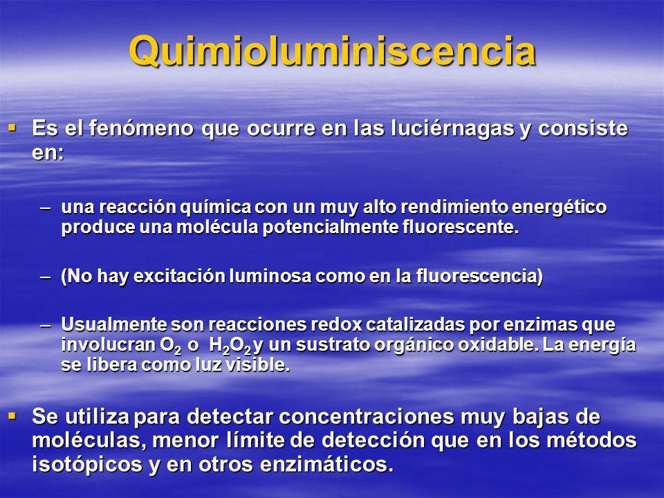 Quimioluminiscencia Es el fenómeno que ocurre en las luciérnagas y consiste en: