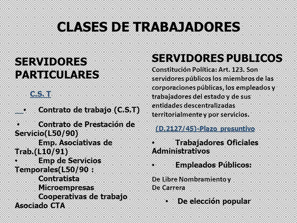 CLASES DE TRABAJADORES