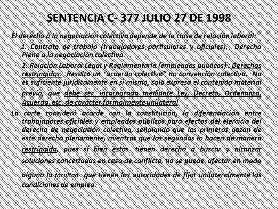 SENTENCIA C- 377 JULIO 27 DE 1998 El derecho a la negociación colectiva depende de la clase de relación laboral:
