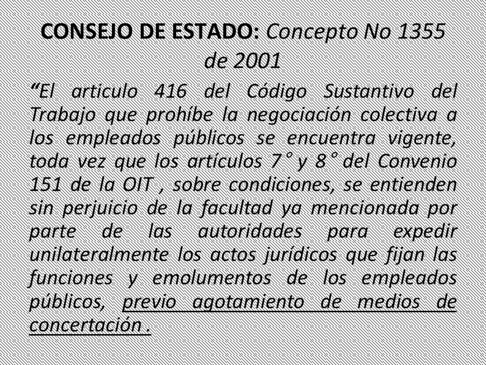 CONSEJO DE ESTADO: Concepto No 1355 de 2001