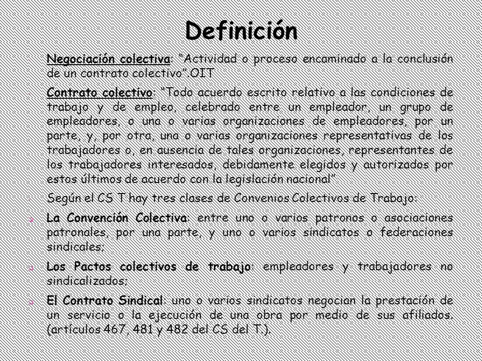 Definición Negociación colectiva: Actividad o proceso encaminado a la conclusión de un contrato colectivo .OIT.