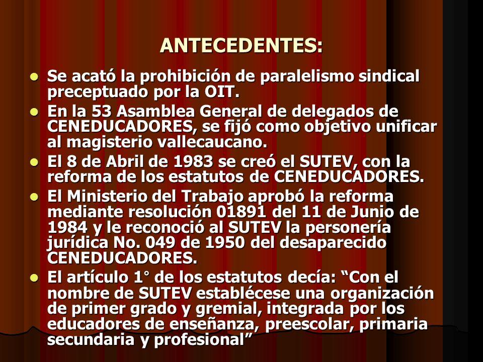 ANTECEDENTES: Se acató la prohibición de paralelismo sindical preceptuado por la OIT.