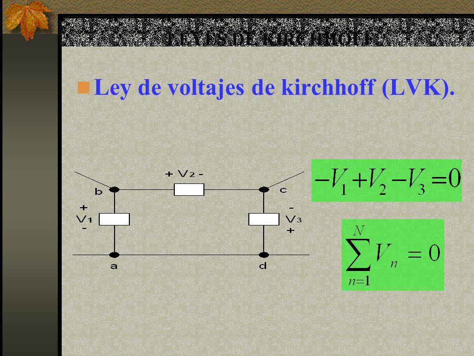Ley de voltajes de kirchhoff (LVK).