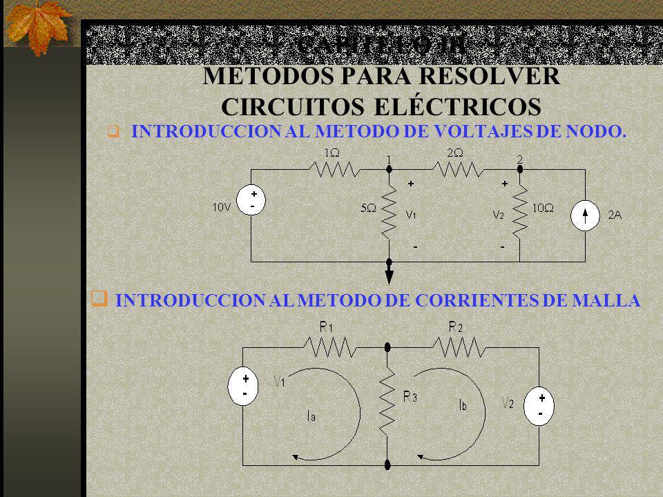 CAPITULO III METODOS PARA RESOLVER CIRCUITOS ELÉCTRICOS