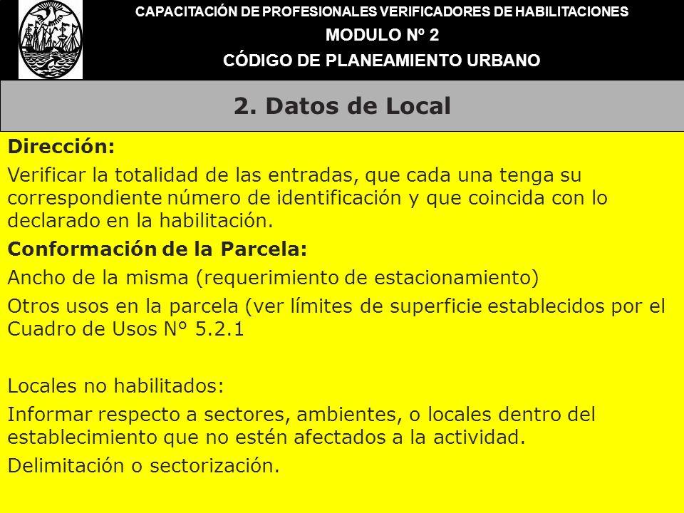2. Datos de Local Dirección: