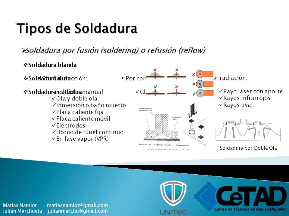 Tipos de Soldadura Soldadura por fusión (soldering) o refusión (reflow) Soldadura blanda. Soldadura dura.