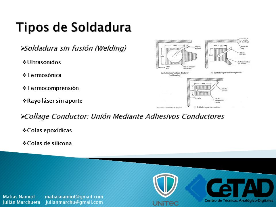 Tipos de Soldadura Soldadura sin fusión (Welding)