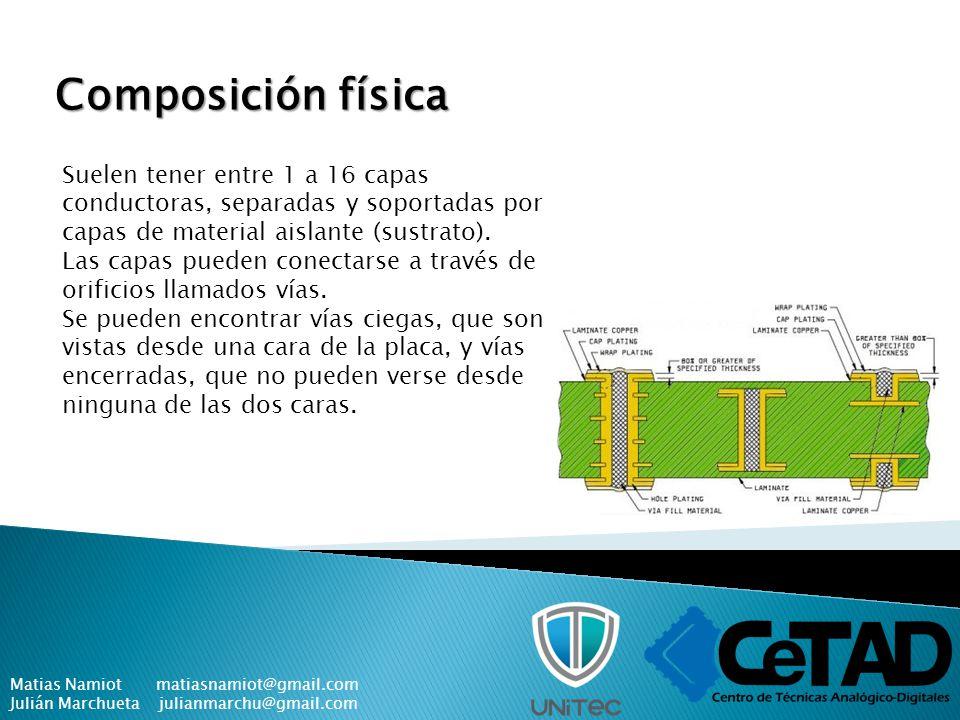 Composición física Suelen tener entre 1 a 16 capas conductoras, separadas y soportadas por capas de material aislante (sustrato).