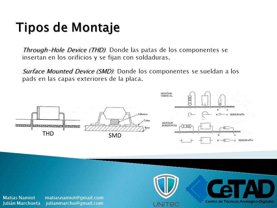 Tipos de Montaje Through-Hole Device (THD): Donde las patas de los componentes se insertan en los orificios y se fijan con soldaduras.