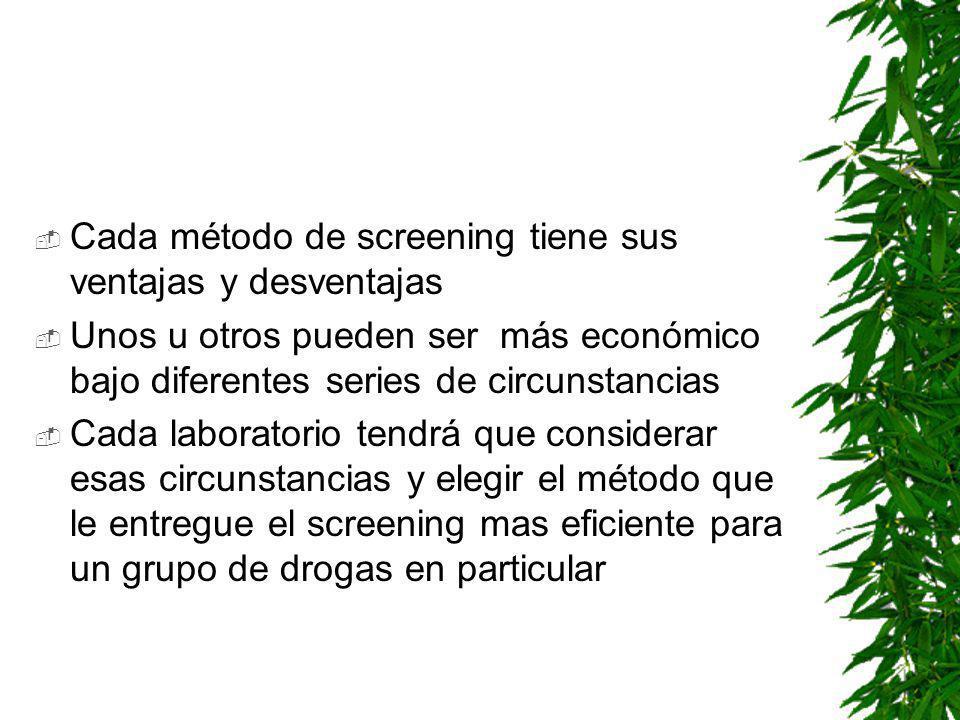 Cada método de screening tiene sus ventajas y desventajas