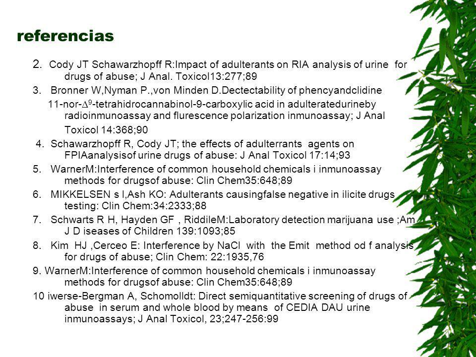referencias 2. Cody JT Schawarzhopff R:Impact of adulterants on RIA analysis of urine for drugs of abuse; J Anal. Toxicol13:277;89.