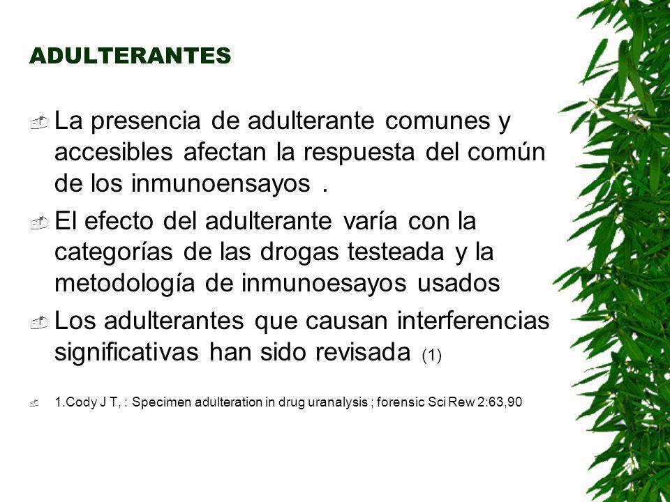 ADULTERANTES La presencia de adulterante comunes y accesibles afectan la respuesta del común de los inmunoensayos .