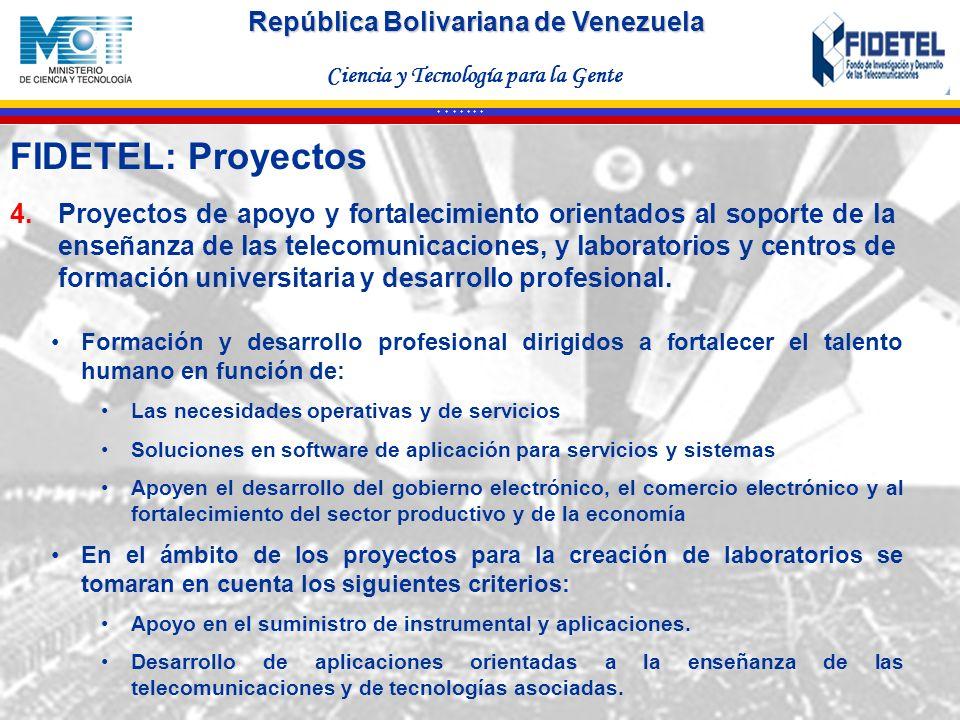 FIDETEL: Proyectos